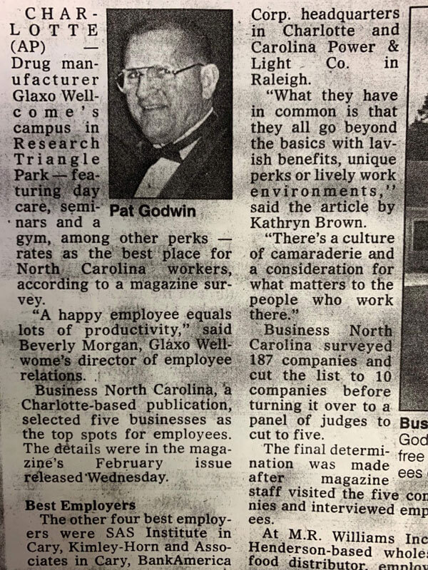 Pat Godwin in news paper